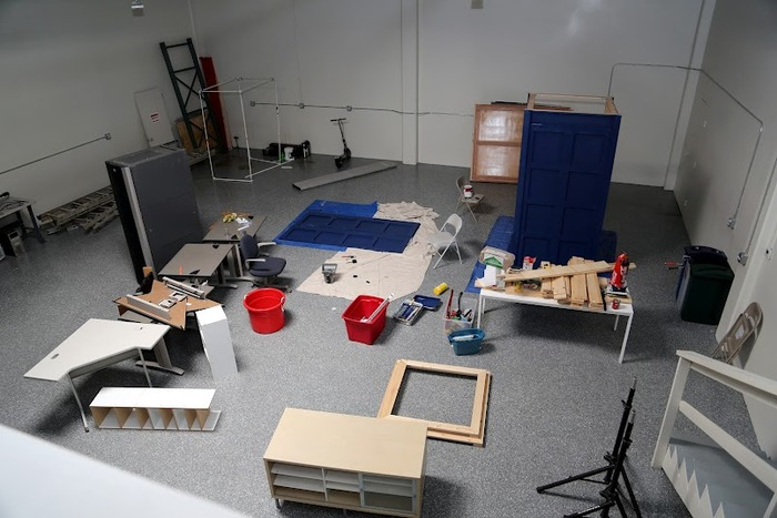 This space will eventually be the design lab! Currently it is home to our nearly finished TARDIS and some of the communal tools we don't yet have room for.