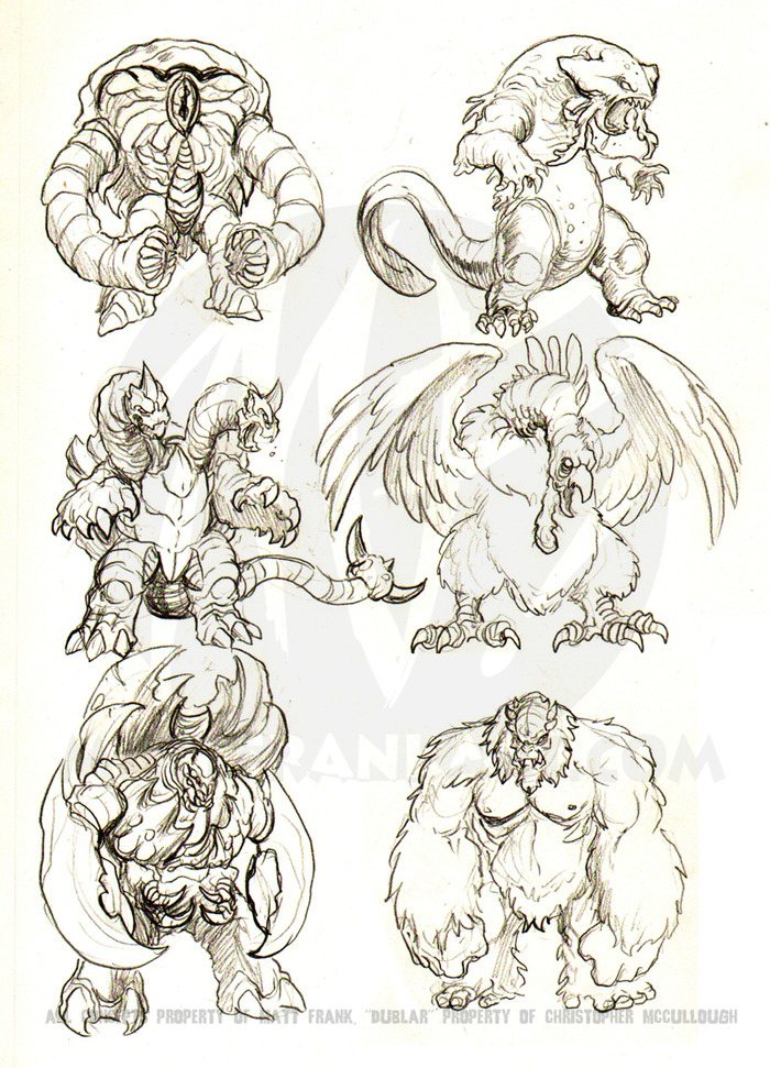 (Some original monster concepts Matt put together for Kaiju Combat)