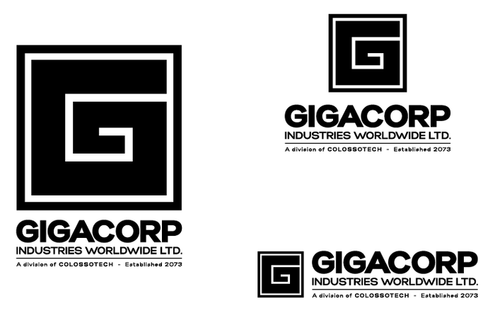Final Logo renderings for the fictional corporation in the film, GIGACORP.