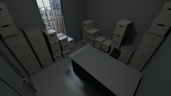 3D Pre-vis of one of the offices for production.