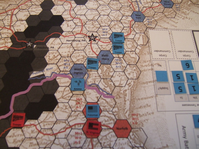 Mid Game - Union Troops and Ammo stream south to reinforce the Army of the Potomac occupying Richmond