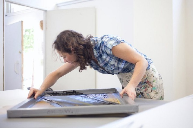 Maggie's an amazing print maker and artist who's designing the poster for our movie.
