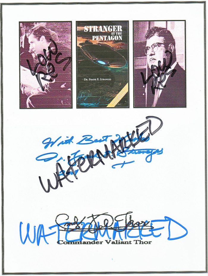 VALIANT THOR, STRANGER AT THE PENTAGON Book Cover, DR. FRANK STRANGES & Copies of their signatures. Exclusive!  Image shown is Low Resolution, but photo is Full Resolution.
