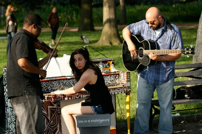Playing a Sing For Hope marathon - 18 free performances in two weeks, in the streets of Manhattan! Summer 2011.