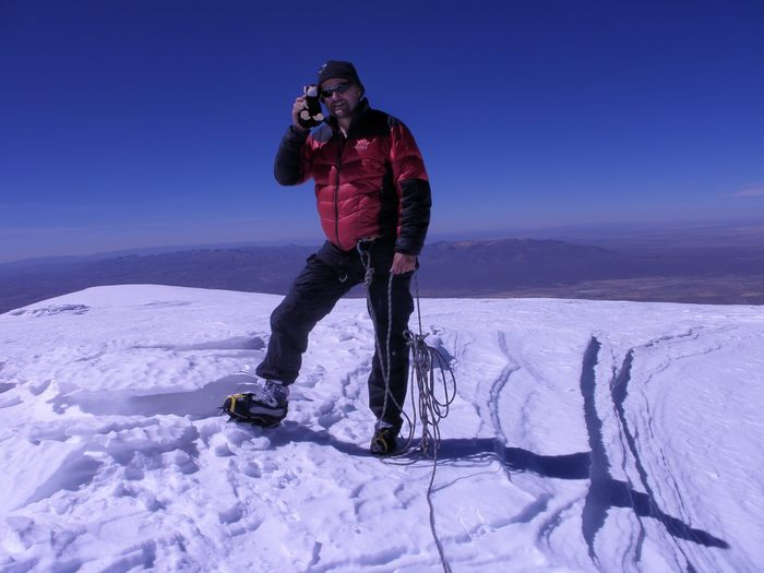 Author on the Summit of Cerro Sajama, the Highest Peak in Bolivia (2010)