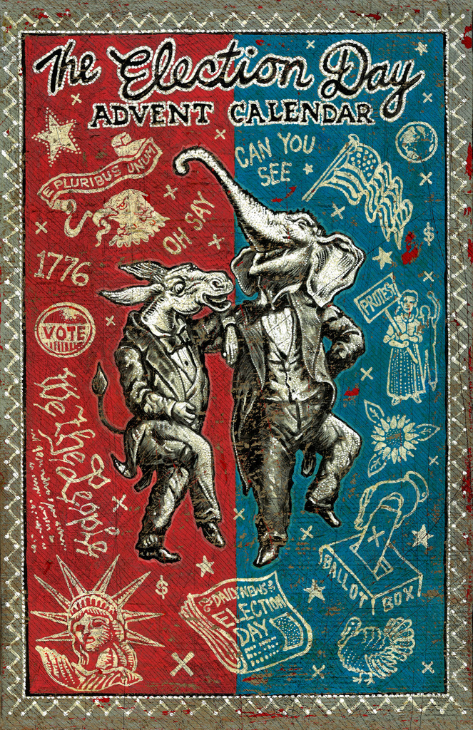 Original painting by Jon Langford, the final Calendar design will be modified to incorporate door layout