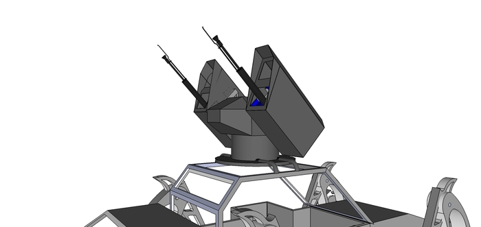Here's the twin cannon concept drawing, shown on top of The Walking Beast.
