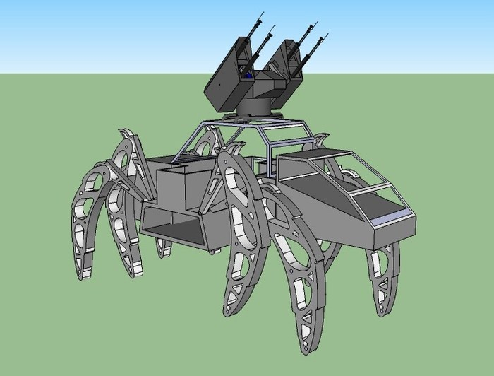 Concept drawing showing Quad Cannon on The Walking Beast