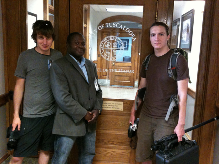 Joshua Guerci, Stacy Noland, and Ben Courts at Mayor Walter Maddox's Office in Tuscaloosa, AL, June 2012.  Photo by B Dahlia.