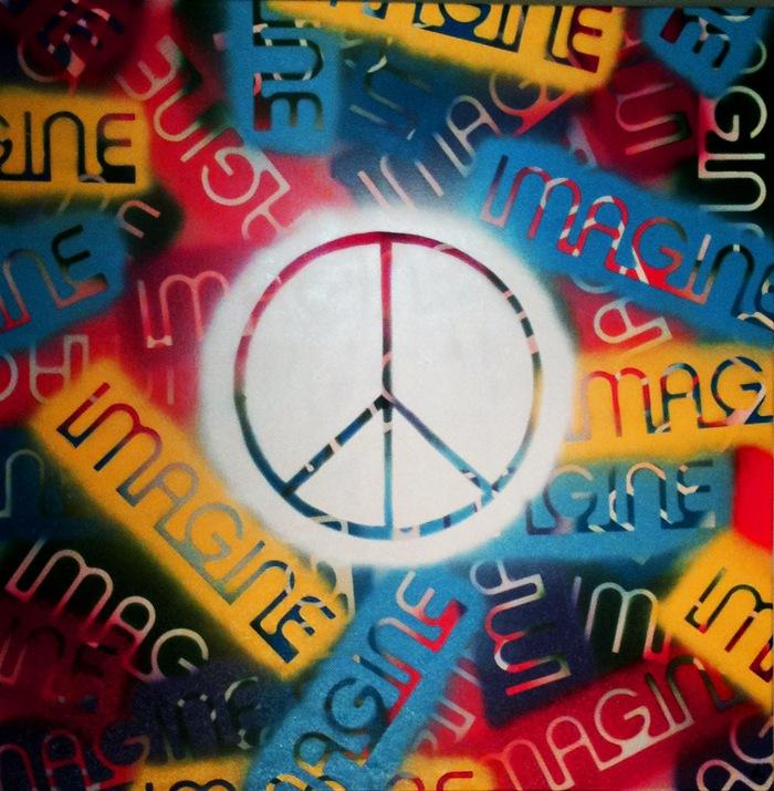 """""""Imagine Peace"""" spray paint on canvas 36""""x 36"""""""