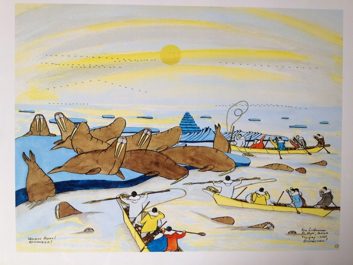 """Walrus Hunt! Aivikseek!"" (18in x 14in) by Ken Lisbourne!  Ken is an Inupiaq artisit, from Point Hope, AK"