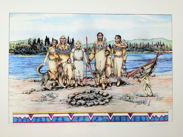 """Our People"" (22in X 17in) signed limited edition print by the late Koyukon artist James Grant Sr.!  This limited edition print is a recognized treasure amongst the Koyukon and Gwichin people"