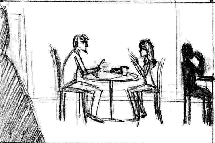 A young couple, Tom and Judy, sit arguing in a coffee shop as closing time approaches.