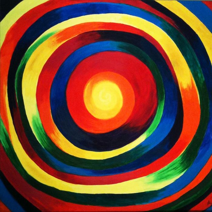 """""""Rainbow Vertigo"""" oil on canvas 36""""x 36"""""""