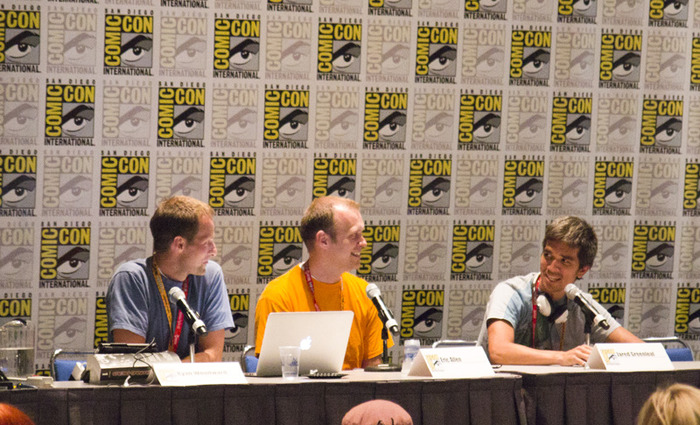 Ryan and two of his team members, Eric Allen and Jared Greenleaf presenting Bottom of the Ninth at the San Diego Comic-con.