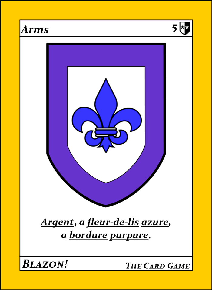 A sample arms card