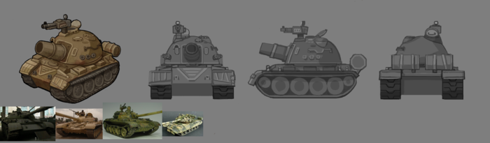 The game also features battle vehicles like this tank.