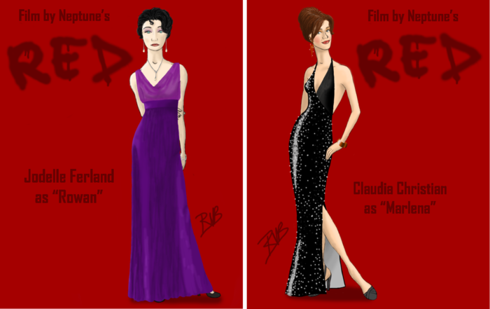 Rowan's and Marlena's gowns from the party scene, each available at the $750 pledge level.  Designed by Roman Voytko Barosse.