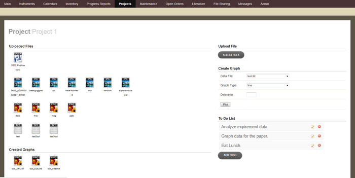 The project managing area, where files can be uploaded and viewed by all users attached to the project.