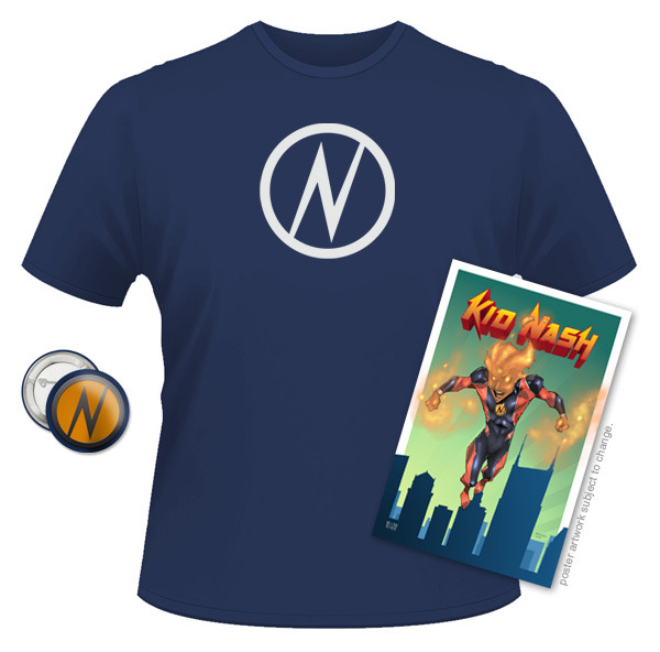 Kid Nash T-Shirt, Emblem Button, and 11x17 poster