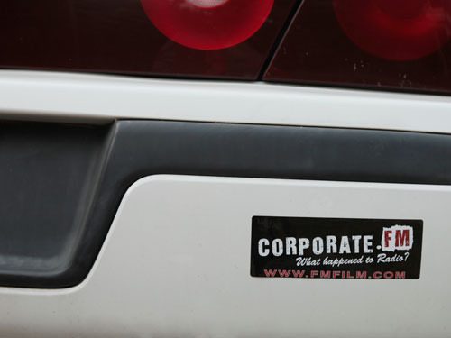 This station bumper sticker speaks openly.