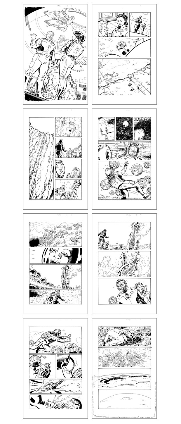 "A few pages of inked artwork from ""Mars: Daedalus Two"""
