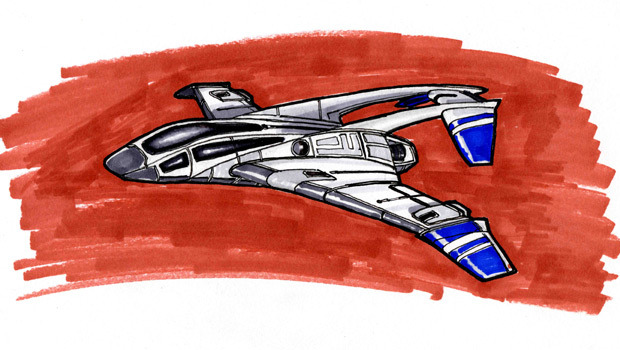 A marker sketch of my design for the Daedalus Two Spacecraft