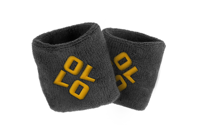 OLLO wristband is a Black Cotton-Terry cloth with Embroidered OLLO logo.