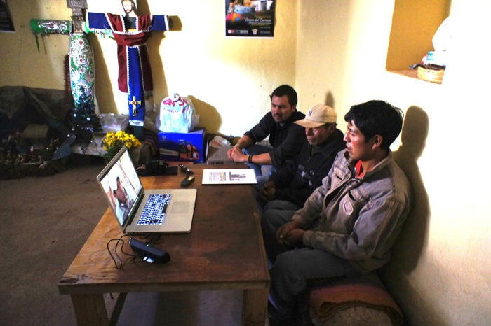 Screening for residents of Pucara so they can see their voices on film in the 30 minute pilot.   January 2012