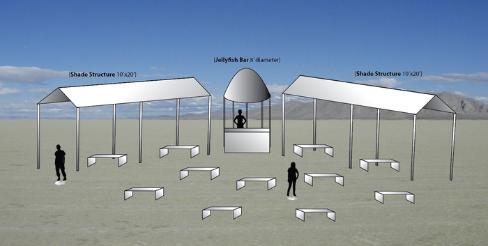 A schematic of the bar, minus the jellyfish detail.