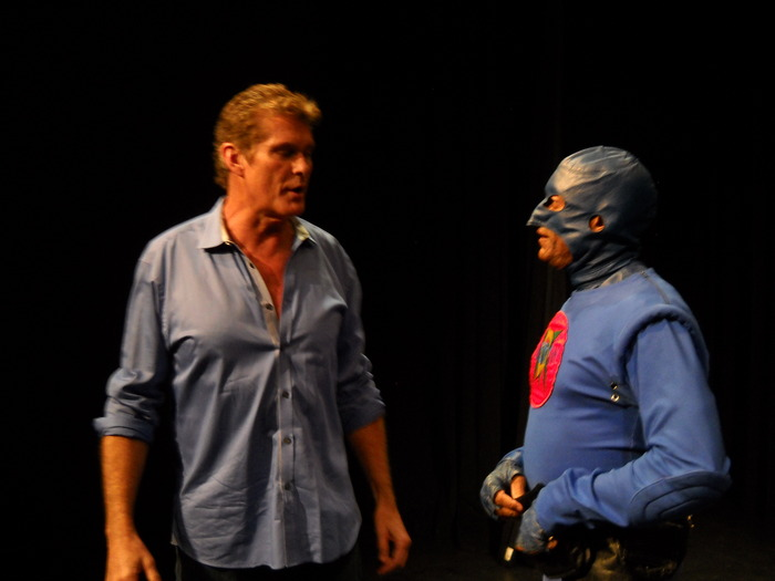 DangerMan on set of the Stan Lee Project with his makeover coach  the Hoff , David Hasselhoff.