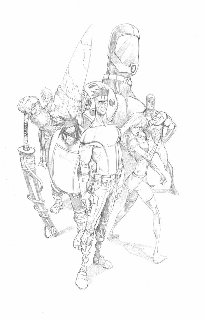 Rough sketch for 11 x 17 print available at some backing levels.