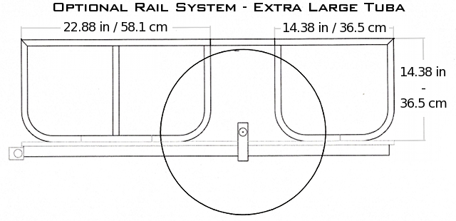 The Rail System for the Large size will be the same height shown here