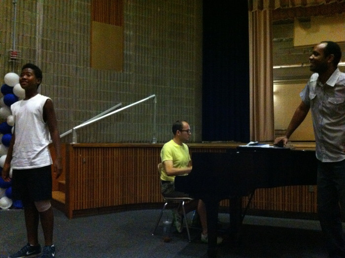 Nathaniel Stampley from The Gershwins' Porgy and Bess coaches BROADWAY FOR ALL participant, Saji Abude in a Master Class.