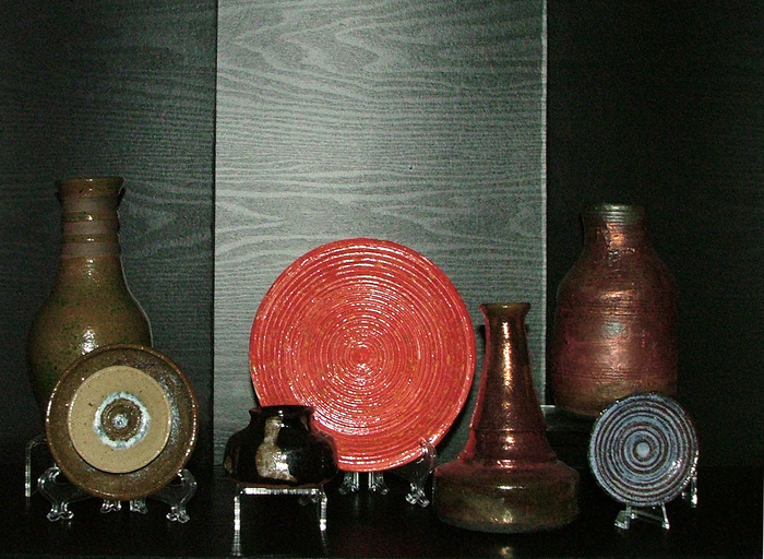 vases, a bowl and miniature ceramics