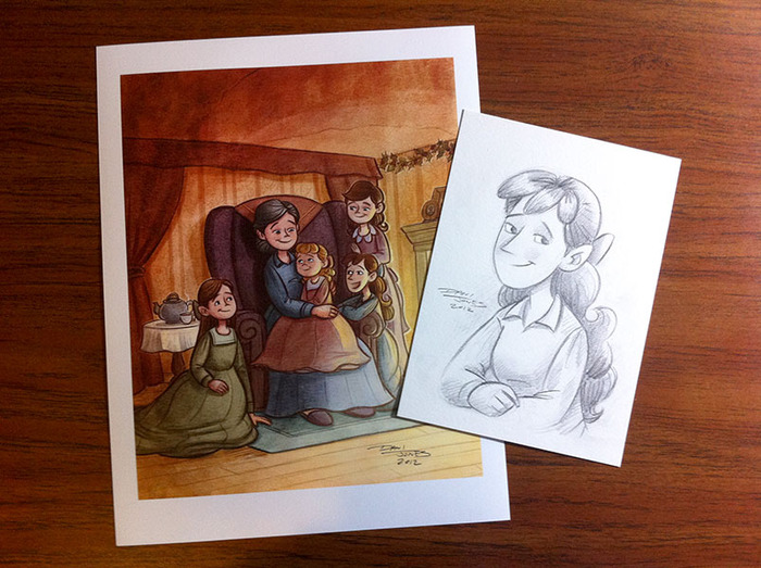 Rewards! Examples of the print and 5x7 pencil drawing.