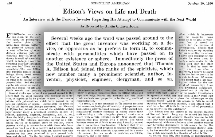 "Excerpt from ""The Scientific American"" October 30, 1920"