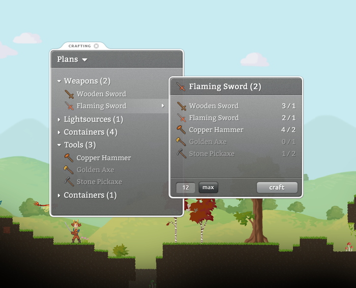 Crafting UI mockup