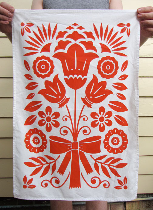 "Kay Wolfersperger ""Bouquet"" screenprinted tea towel"