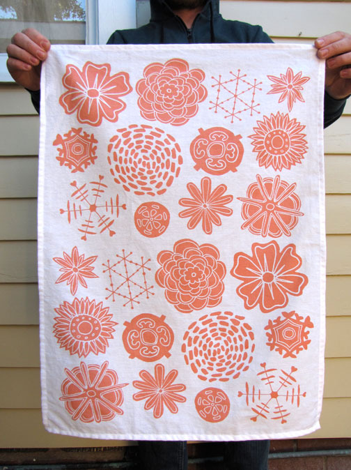 "Kay Wolfersperger ""Vintage Buttons"" screenprinted tea towel"