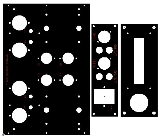 Mechanical drawings of the anodized aluminum inset panels required for the wood chassis amplifier