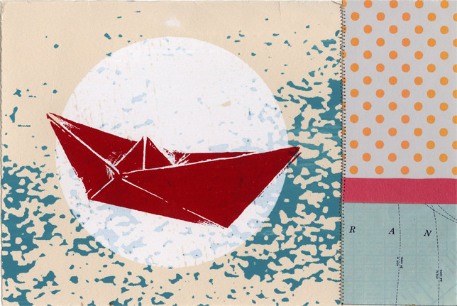 "Benjamin Stanley + Kay Wolfersperger, ""Boat Collage"" screenprint with mixed media on paper."