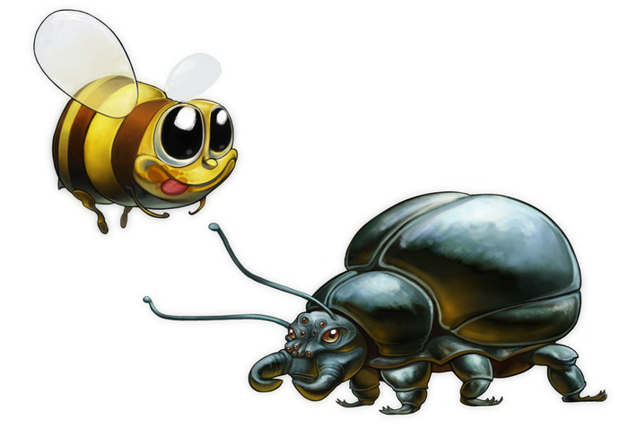 Watch out for rising bees and falling beetles when you twist! Exploit their different movement patterns to access new areas.