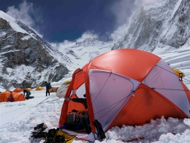 Garrett Madison using our OneUp Tent at Everest Camp I - May 2011