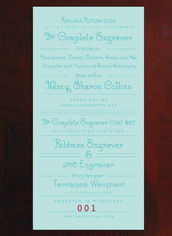 """Fonts Trade Card"" - photo-engraved and mechanically (Heidelberg letterpress) numbered trade card."