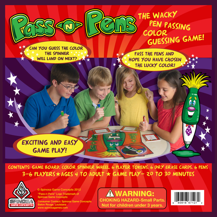 Our fantabulous four children are featured on the back of the board game box having fun playing Pass N Pens.