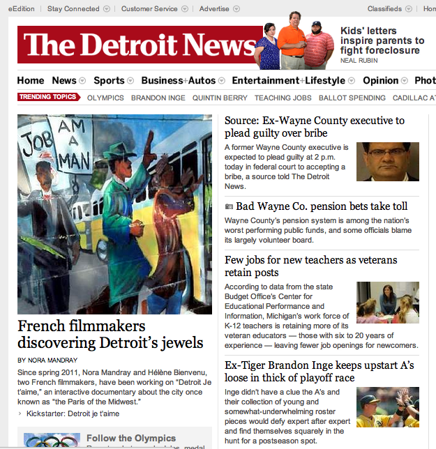The Detroit News frontpage, 07/26/12