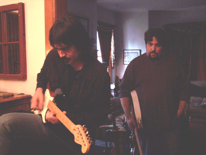 "Larry Campbell w/ Matt Angus during the recording of ""Matt Angus""."