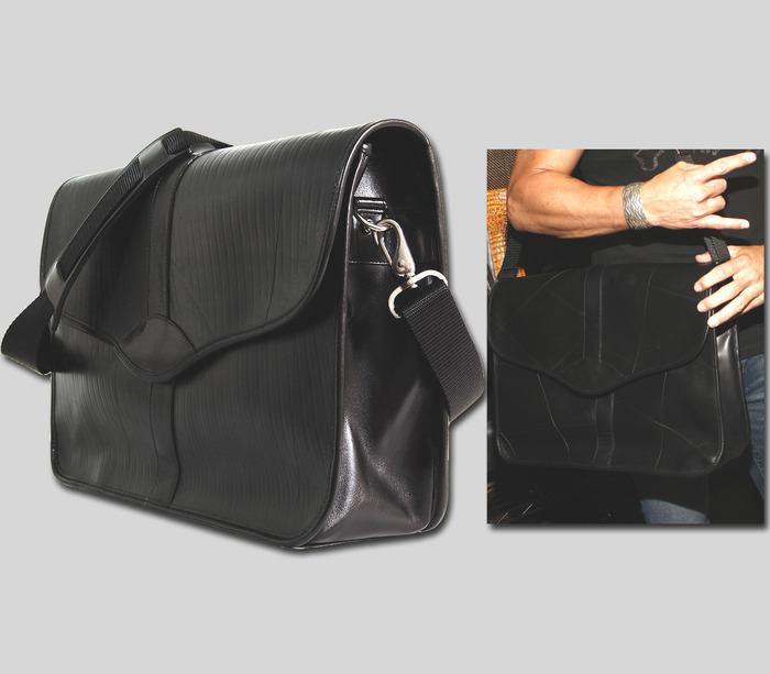 Dad's Baby Bag - Available in black leather trim, 17'' wide x 11'' high x 5'' deep