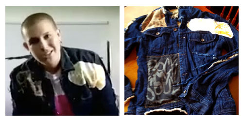"PICTURE 6: ONLY 1 AVAILABLE! GOD-DES' CUSTOM MADE JACKET FROM THE ""LICK IT"" VIDEO, MEN'S DENIM JACKET SIZE SMALL WITH PATCHES SEWN ALL OVER IT"